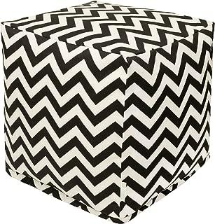 Majestic Home Goods Black Chevron Indoor/Outdoor Bean Bag Ottoman Pouf Cube 17