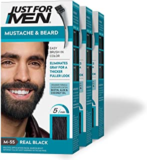 Just For Men Mustache & Beard Brush-In Color Gel, Real Black (Pack of 3, Packaging May Vary)