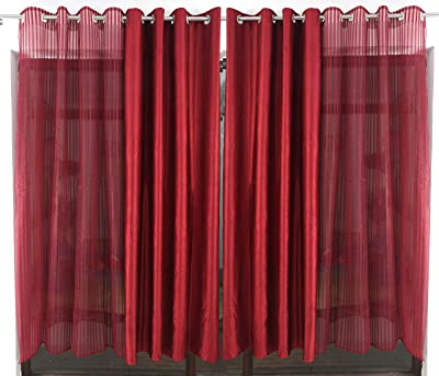 Roomiac Polyester Sheer and Solid Eyelet Curtain (Maroon, 7 ft) -4 Pieces
