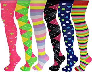 6 Pairs Pack Women Multi Neon Color Fancy Design Thigh High Over the Knee Socks Stockings
