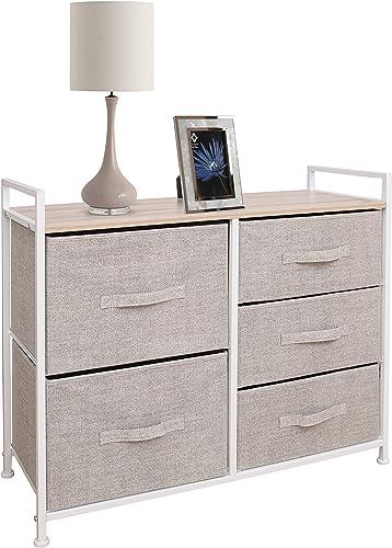 East Loft Storage Cube Dresser Organizer for Closet, Nursery, Bathroom, Laundry or Bedroom 5 Fabric Drawers, Solid Wo...