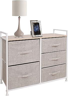 East Loft Storage Cube Dresser Organizer for Closet, Nursery, Bathroom, Laundry or Bedroom 5 Fabric Drawers, Solid Wood Top,