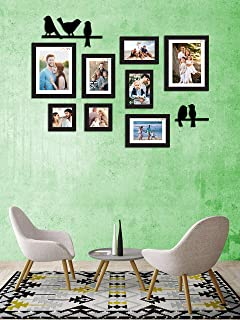 Art Street Synthetic Wood Adobe Wall Photo Frames Collage Picture Gallery Kit for Home with Love and Bird Design 5x5 , 5x7...