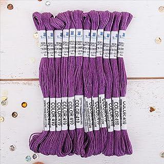 12 Skeins ThreadArt Premium Egyptian Long Fiber Cotton Embroidery Floss | Purple | 6 Strand Divisible Thread 8.75yds Each ...