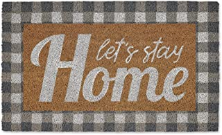 DII Natural Coir Doormat, Checkers Mat, Let's Stay Home, 18x30