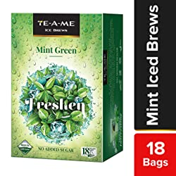 TE-A-ME Ice Brews Cold Brew Ice Tea, Mint Green, 18 Pyramid Tea Bags