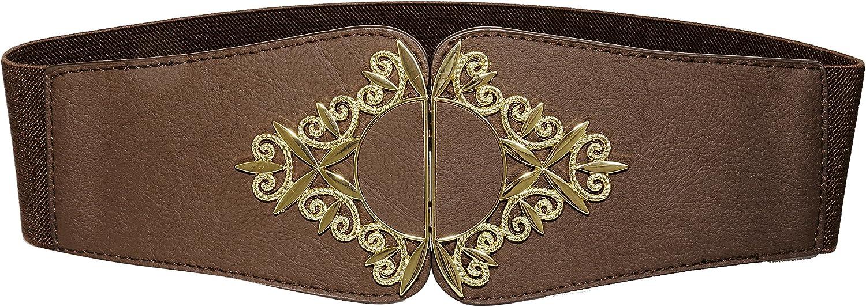 Modeway Womens Retro Wide Leather golden Buckle Elastic Stretch Cinch Waist Belt