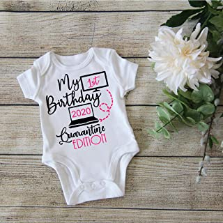 My 1st Birthday Onesie for Boy or Girl - Funny Birthday Onesie Toddler - First Quarantined Bday Bodysuit - Gift for 1 year old - 2E