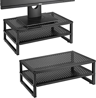 Simple Trending 2-Tier Monitor Stand Riser, Metal Desk Organizer Stand with Anti-Slip Suction Cup for Laptop, Computer, iM...