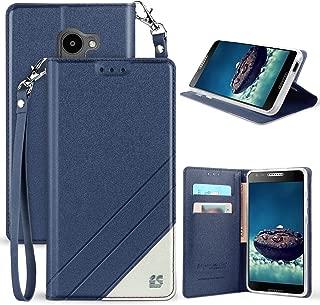 Alcatel A30 Fierce/Plus/Revvl Case, [Blue] Infolio Credit Card Slot Cover, View Stand [with Wrist Strap Lanyard] for Alcatel A30 Fierce (MetroPCS, 5049Z), A30-Plus, T-Mobile Revvl (5049W) 5.5