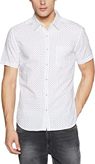 DJ&C Men's Printed Regular Fit Cotton Casual Shirt