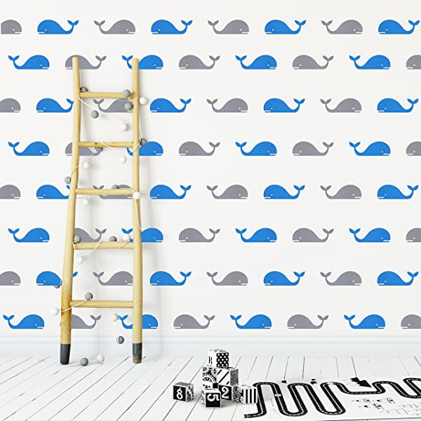 The Boho Design Whales Wall Vinyl Decal Decor Nursery Adhesive Whale Stickers For Kids Baby Nordic Ballena Bedroom Decoration Grey And Light Blue