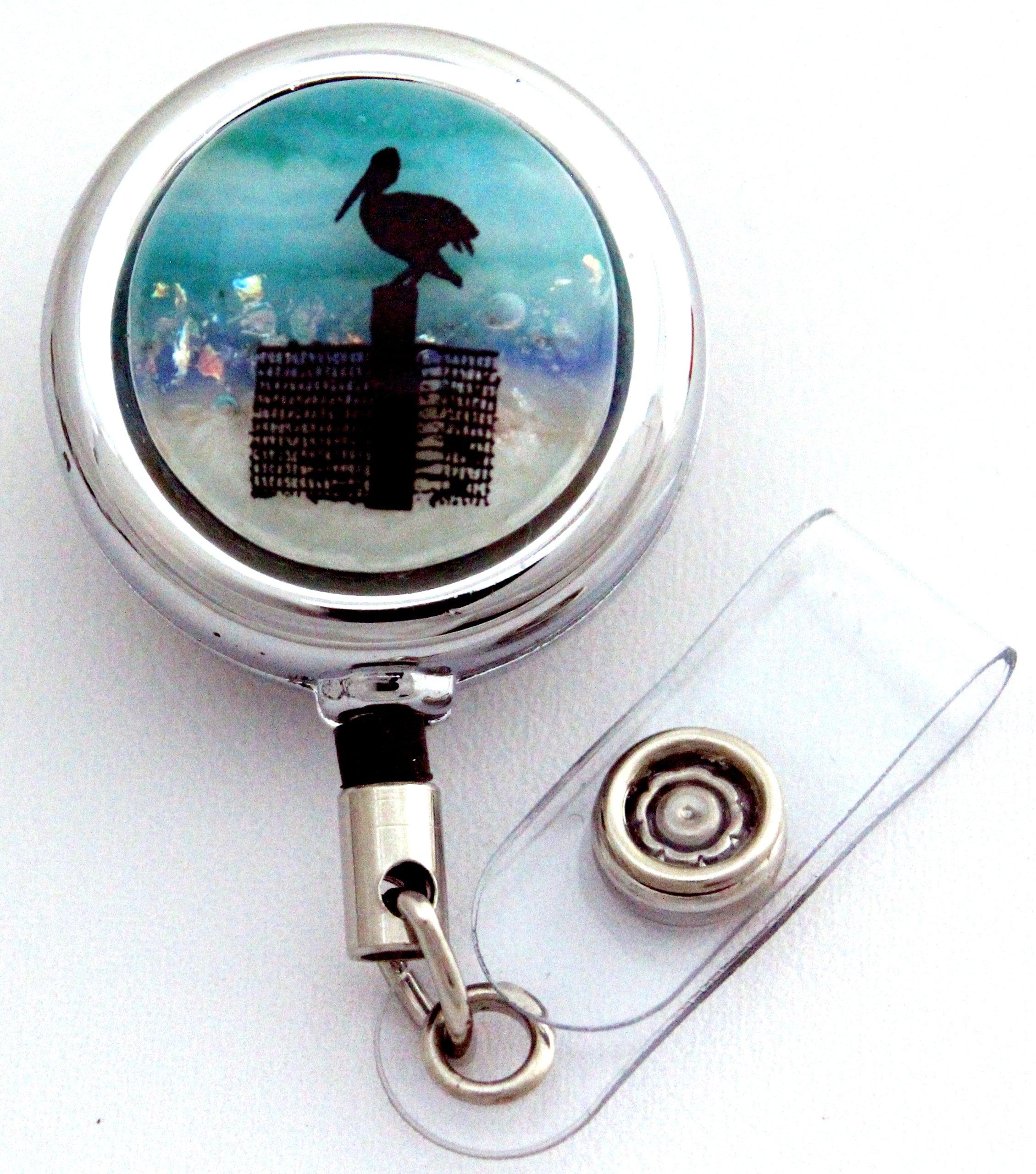 Pelican, Fused Glass, Metal Retractable Badge Reel with Belt Clip