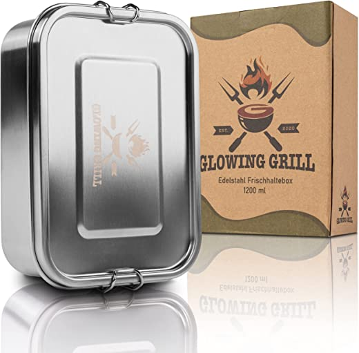 GLOWING GRILL Premium Edelstahl Brotdose 1200ml mit flexiblem Trennfach, Auslaufsicher, Lunchbox stabil zum Wandern, Frischhaltedose für Camping...