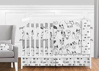 Grey, Black and White Fox and Arrow Baby Boys or Girls 9 Piece Crib Bedding Crib Set with Bumper