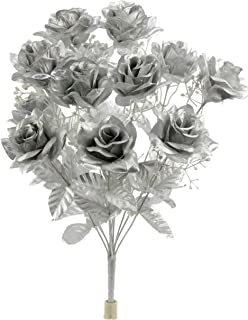 Admired By Nature GPB293G-Silver 12 Stems Artificial Satin Rose Flowers Bush, Silver