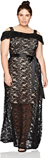 R&M Richards Women's Plus Size One Piece Off The Should Long Laced Gown, Black/Taup, 18W