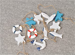 Mediterranean Nautical Fish Net Accessory - Anchor, Shell, Starfish, Fish, Life Ring Buoy Hangings Decorations 10 Pcs Set