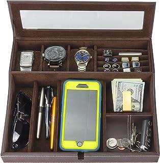 HOUNDSBAY Navigator Big Dresser Valet Tray للرجال مع صندوق ساعة منظم مجوهرات ومنصة شحن للهواتف الذكية (بني غامق)