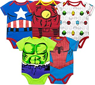 Baby Boys' 5 Pack Bodysuits - The Hulk, Spiderman, Iron Man and Captain America