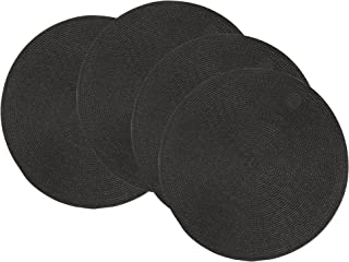 Now Designs Disko Round Placemats, Black, Set of 4