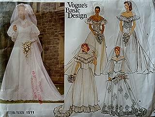 Vogue's Basic Design Wedding Dress Pattern 1511 Size 6