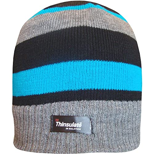 e06adf50278 TeddyT s Boys Striped Design Thermal Knit Fleece Lined Thinsulate Winter  Beanie Hat