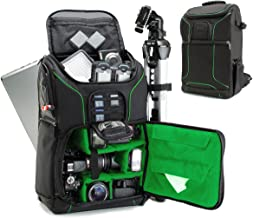 USA GEAR SLR Camera Backpack Case (Green) - 15.6 inch Laptop Compartment, Padded Custom Dividers, Tripod Holder, Rain Cover, Long-Lasting Durability and Storage Pockets - Compatible with Many DSLRs