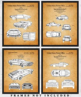 Vintage Sports Car Patent Wall Art Prints: Unique Room Decor for Boys, Men, Girls & Women - Set of Four (8x10) Unframed Pictures - Great Gift Idea for Sports Car Enthusiasts!