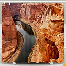 ROOLAYS Shower Curtain, Christmas The River Cutting into What The Grand Canyon Meanders Becomes Waterproof Decorative 72X72 Inch Bathroom Fabric Shower Curtains,Orange Green