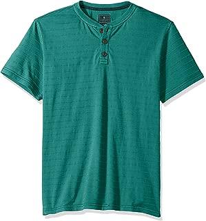 Men's Jack Mountain Short Sleeve Texture Stripe Henley Shirt