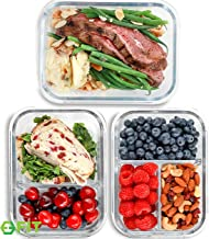 1 & 2 & 3 Compartment Glass Meal Prep Containers (3 Pack, 35 oz) - Glass Food Storage Containers with Lids, Glass Lunch Bo...