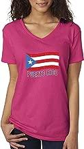 New Way 720 - Women's V-Neck T-Shirt Puerto Rico Flag PR Distressed
