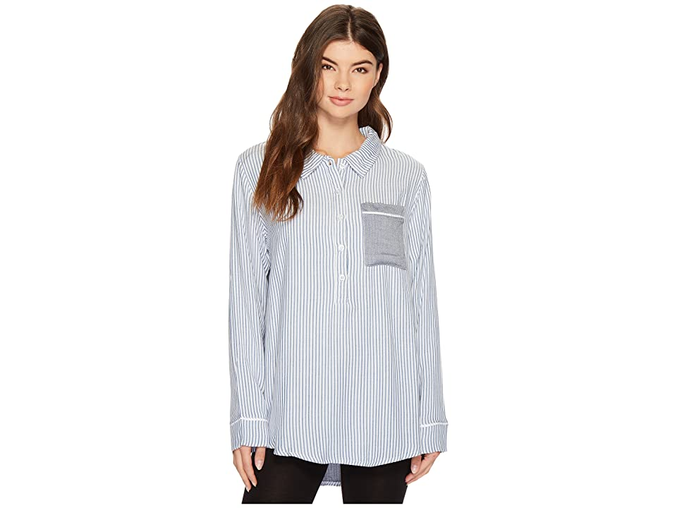64cb547163 Plush Ultra Soft Boyfriend Sleep Shirt (Chambray Stripe) Women s Pajama