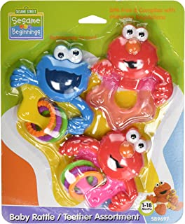 Sesame Beginnings 3 Piece Teether and Rattle Set