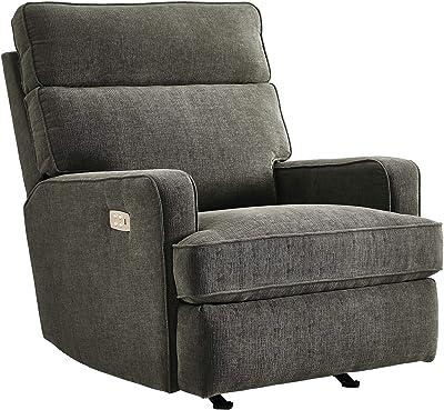 Canmov Swivel Rocker Recliner Chair Manual Reclining Chair Single Seat Reclining Chair Gray Kitchen Dining