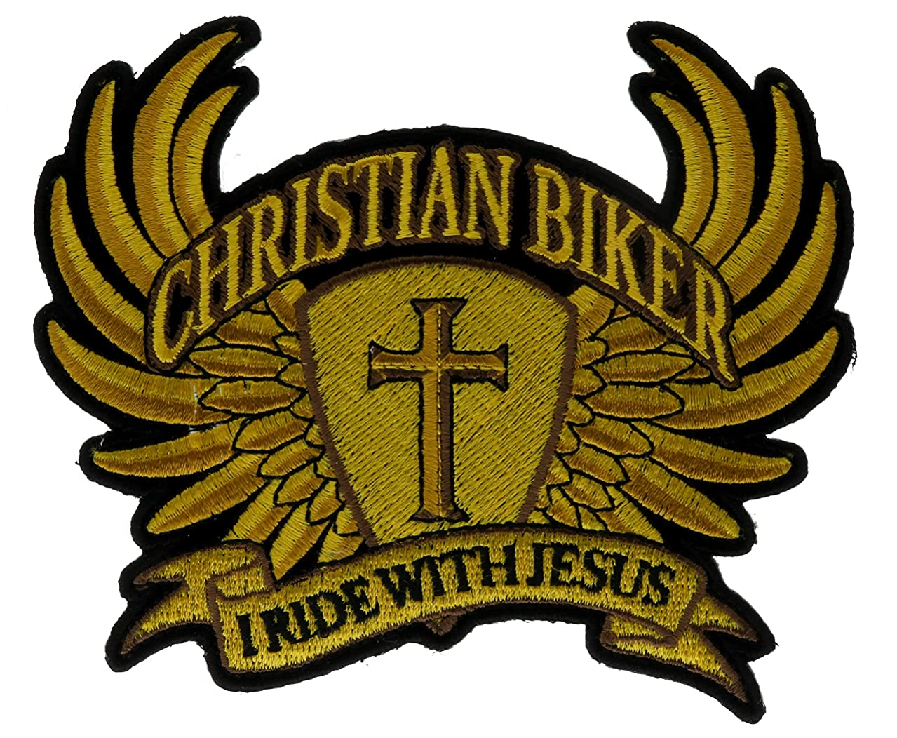I Ride with Jesus Christian Biker Golden Wings Cross Embroidered Patch IVANP5492
