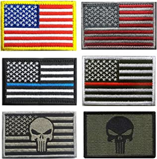 US Flag Patches, TOWEE 6 Pack American Flag USA Flags Punisher Patches Tactical Tags Patch Military Patch Embroidered Border America Military Uniform Emblem Morale Patches