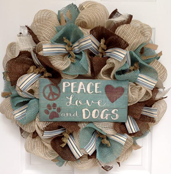 Peace Love And Dogs All Occasion Burlap Welcome Wreath Handmade Deco Mesh