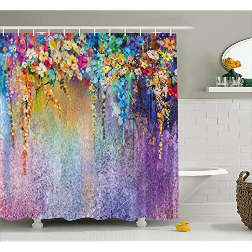 Exceptionnel Ambesonne Watercolor Flower Home Decor Shower Curtain, Abstract Herbs Weeds  Blossoms Ivy Back With Florets
