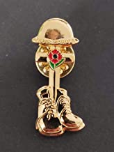 1918-2018 WWI ANNIVERSARY VICTORY Cross & Boots Poppy Pin Badge (Shining gold)