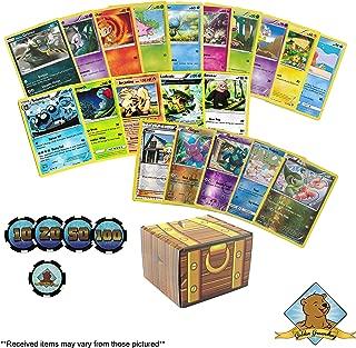 100 Pokemon Trading Cards Lot Featuring - Custom Damage Chips - Custom Golden Groundhog Chip - Foils - Rares! Golden Groundhog Treasure Chest Box!
