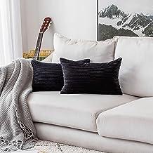 """HOME BRILLIANT Striped Velvet Throw Pillow Covers 2 Pack, Velvet, G-Black, 12"""" x 20"""""""