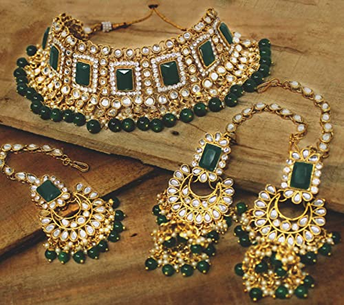 Kundan Choker Bridal Green Non Precious Metal Gold Plated Necklace Set for Women