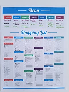 Shopping List Meal Planner Grocery Note Menu Planners Shopping Grocery List Tear Off Pad, 8.5 x 11 inch | Menu Food Tracker | Groceries List Plan Kitchen Planning (Menu/Shopping List Planner)