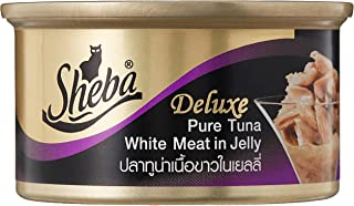 Sheba Deluxe Premium Wet Cat Food, Pure Tuna White Meat in Jelly, 85g Can