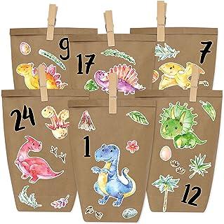 Papierdrachen DIY kalendarz adwentowy do wypełnienia - czarny do naklejenia - z 24 brązowymi papierowymi torebkami i świet...