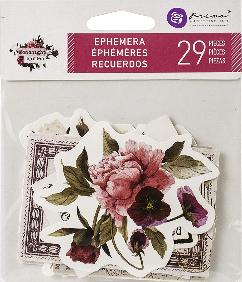 Prima Marketing 636043 Midnight Garden Ephemera Cardstock Die-Cuts 29/Pkg-Shapes, Tags, Words, Foiled Accents,