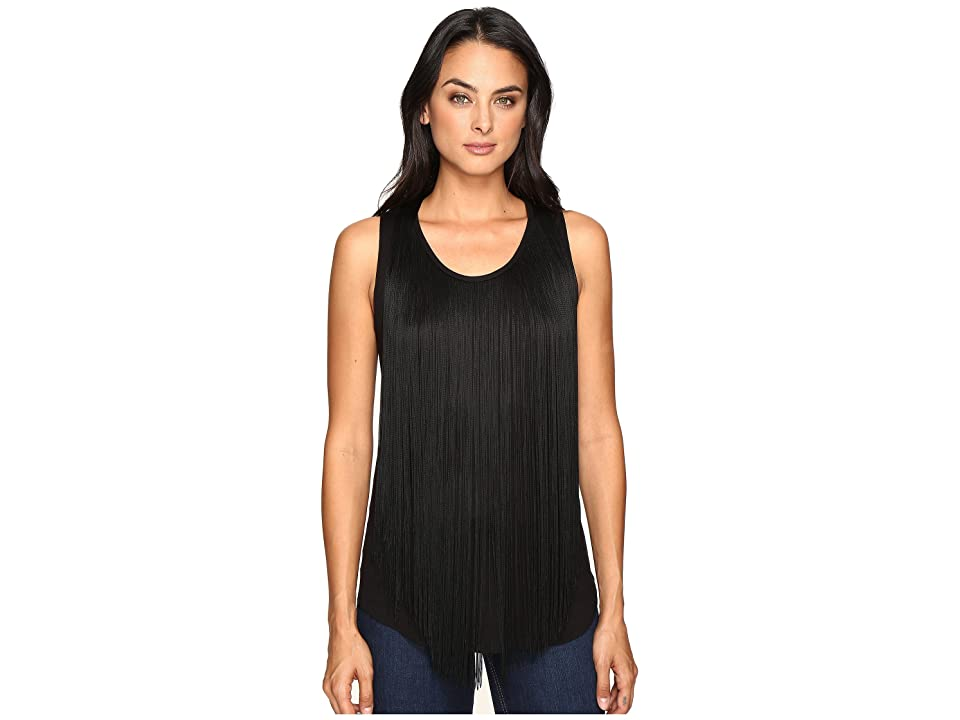 Three Dots Fringe Top (Black) Women