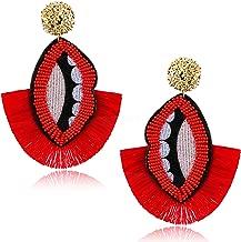 Earller Red Lip Earrings Lips Mouth Kiss Earrings Beaded Fringe Sexy Tooth Earrings for Women and Girls